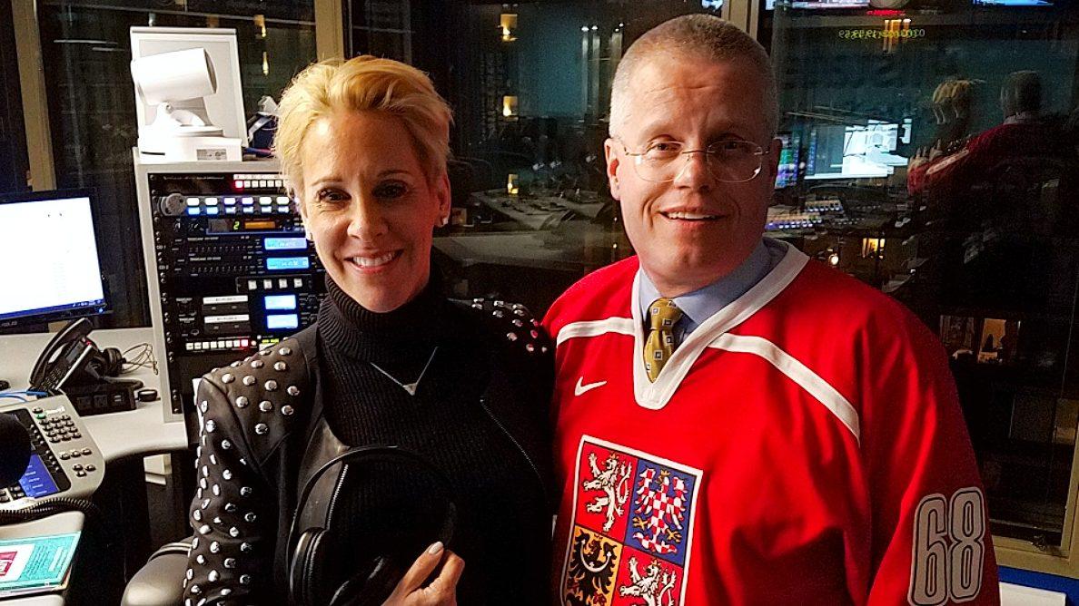 Karen Conti and Joe Topinka in the studio