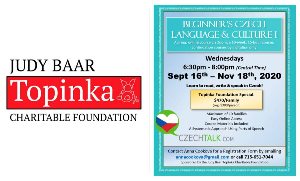 JBTCF Beginning CZ language 2020 Sep to Nov Wednesday evenings